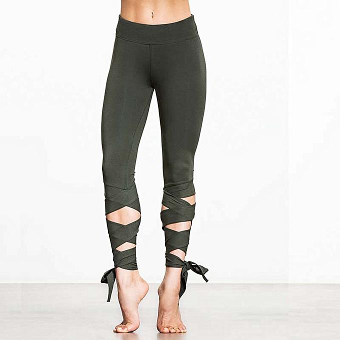 d1f8ee10f9072 Fashion Women Lace Up Ballet Dancing Leggings High Waist Push Up Fitness  Skinny Pants Pantalon Workout