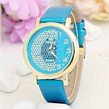 Wrist Watch Stylish Hollow Women Casual Girl Roman Numerals Modern Crystal Elegant(Blue)
