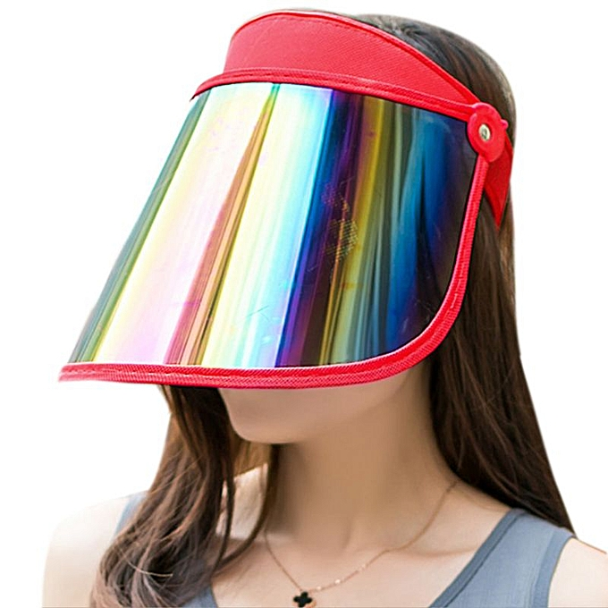 aeb74160d78ca9 Women Summer Empty Top Sun Visor Hat Plastic Panel UV Protection Adjustable  Angle Large Wide Brim ...
