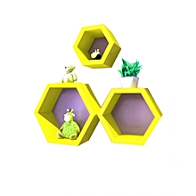 Wall Hanging Hexagon Book Rack Wall TV Background Shelves Decoration - Yellow