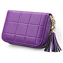 Women Genuine Leather RFID Quilted Card Holder Girls Tassel Zipper Short Wallet Coin Bags