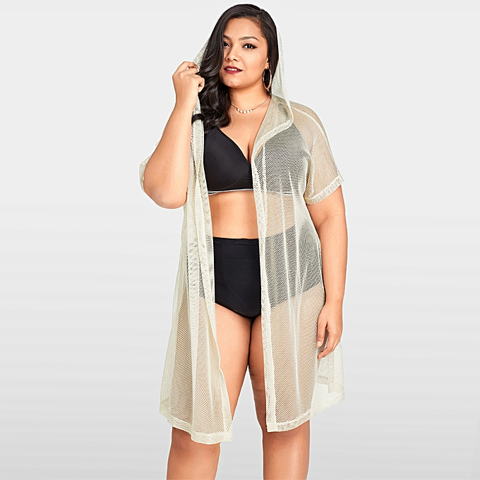 28346815661 Sexy Women Bikini Cover Up Fishnet Hollow Out Hooded Cardigan Plus Size  Outerwear Beachwear Beige