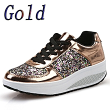 Blicool Shoes Women's Ladies Wedges Sneakers Sequins Shake Shoes Fashion Girls Sport Shoes#Gold