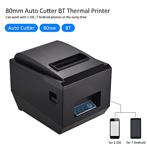 80mm BT Thermal Receipt Kitchen Printer Auto Cutter Compatible with ESC/POS  Commands USB Port High Speed Clear Printing for iOS & Android & Windows
