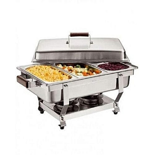 Chafing Dish Stainless Steel 3Tray Buffet Catering - Silver