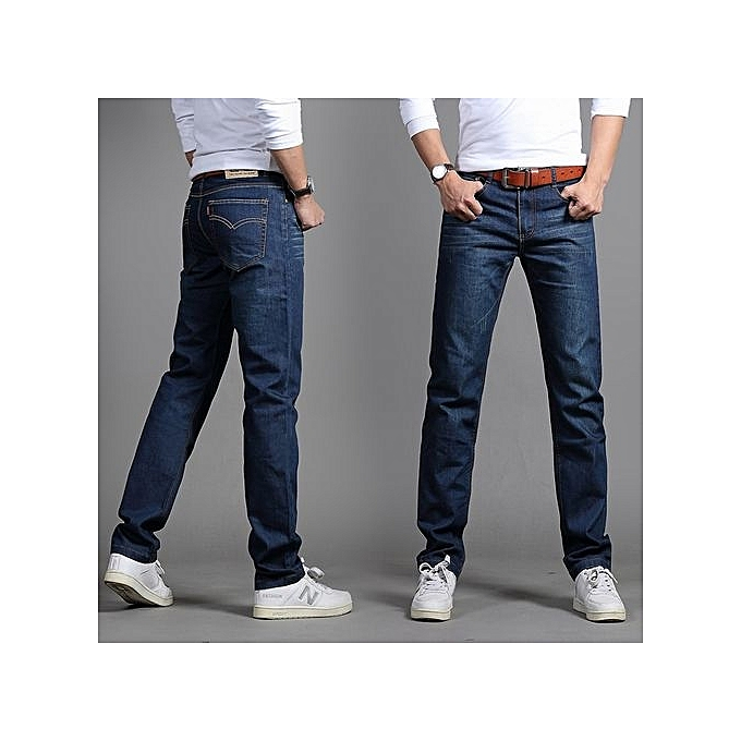 a1b1bd6ac95 Refined Mens Casual Plus-size Comfortable Cotton Denim Slim-fit Straight  Long Simple Jeans