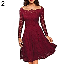 Women's Elegant Lace Floral Long Sleeve Boat Neck Cocktail Formal Swing Dress-Wine Red.,