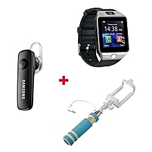 Gift Bundle Of  Smart Watch Phone With Free Bluetooth headset and selfie stick -  Silver Black