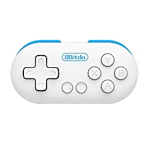 LEBAIQI 8Bitdo Zero Gamepad Wireless Bluetooth Game Controller RC Selfie Shutter white & blue