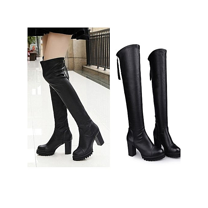 c4b7f352727 Bliccol High Heel Shoes Fashion Leather Over Knee Boots Women Toe Elastic  Stretch Thick Heel Boots ...