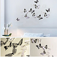 3D Wall Stickers Butterfly Fridge  Home Decoration- Black