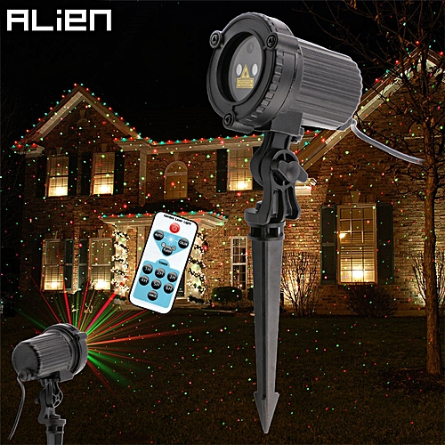 ALIEN Remote Red Green Static Christmas Outdoor Waterproof Star Laser  Projector Garden Xmas Tree Holiday Lawn Shower Lighting QLANA