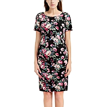 0be90cd7796 huskspo Women  039 s Pregnancy Floral Print Dress Maternity Short Sleeve  Sundress Clothing