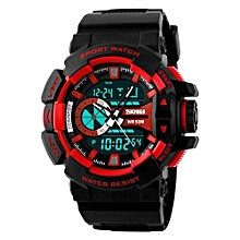 1117 Men LED Electronic Digital Watch Luxury Brand 5ATM Waterproof Outdoor Watches Men Wristwatch - Red