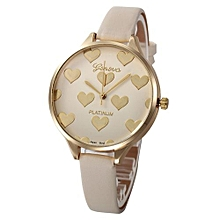 Henoesty Women Casual Checkers Faux Leather Quartz Analog Wrist Watch  Beige