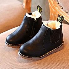 Kids Boys Girls Winter Snow Warm Ankle Boots Zipper Child Chelsea Shoes -Black
