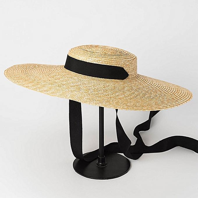 07177e59 Wide Brim Boater Hat 10cm 15cm Brim Straw Hat Flat Women Summer Kentucky  Derby Hat White