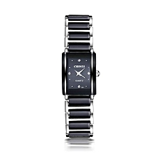 Fashion Waterproof Women's Watch Quartz Wrist Watches With Ceramic Watchband Diamonds Decoration-Black