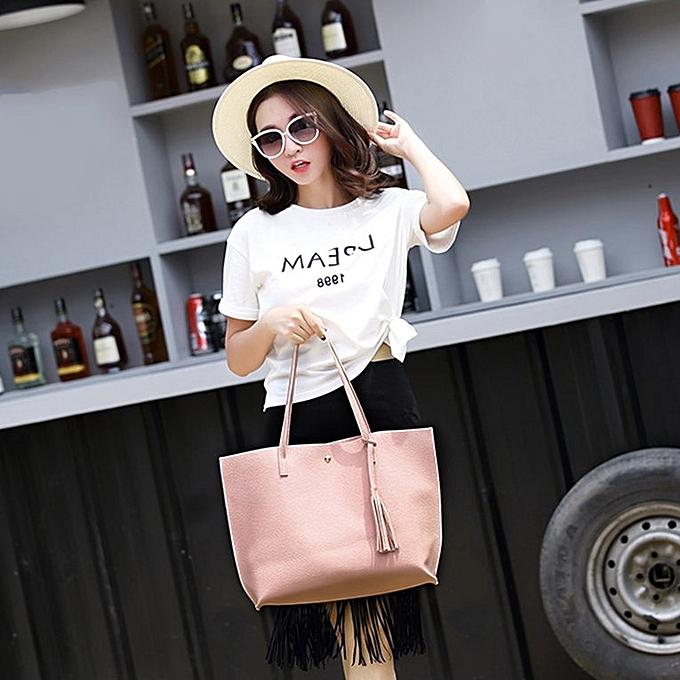 7b4338ee003 ... Women Single-shoulder Bag Large Capacity Ladies Bag With Tassel  Decoration Pink ...