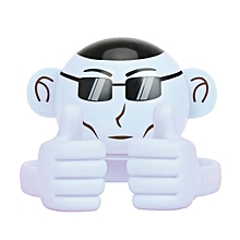 APE: White Bluetooth Speaker, Portable Monkey Shape Multifunction Wireless Speaker with 3.5mm Audio Jack and Thumbs-up Adjustable Flexible Smartphone Holder for Tablets, Cell Phones