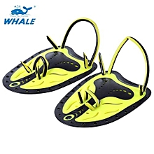 Paired Unisex Swimming Adjustable Paddles Fins Webbed Training Pool Diving Hand Gloves-YELLOW