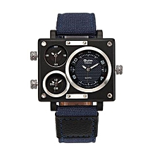 Watches, 3595 Men's Rectangle Case Three Quartz Time Zones Leather Band Sports Wristwatches - Blue