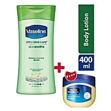 Vaseline Intensive Care Body Lotion Aloe Soothe - 400ml + FREE Vaseline Petroleum Jelly - 50ml