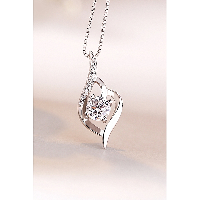 e0592153b72e12 Fashion Female clavicle chain necklace 925 pure silver necklace silver diamond  pendant necklace female Korean jewelry simple necklace(Xl6134 Only Love ...