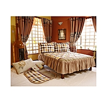 4Pc - Quilted Bedcover Set - 4 x 6 - Brown & Beige