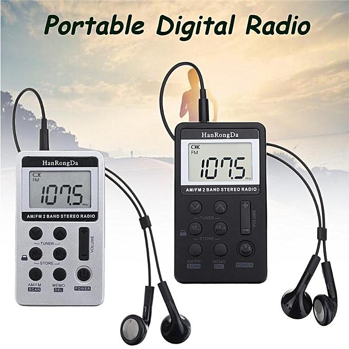 2PCS Portable Digital LCD FM/AM 2 Band Stereo Radio Mini Pocket Receiver w/  Earphone Black
