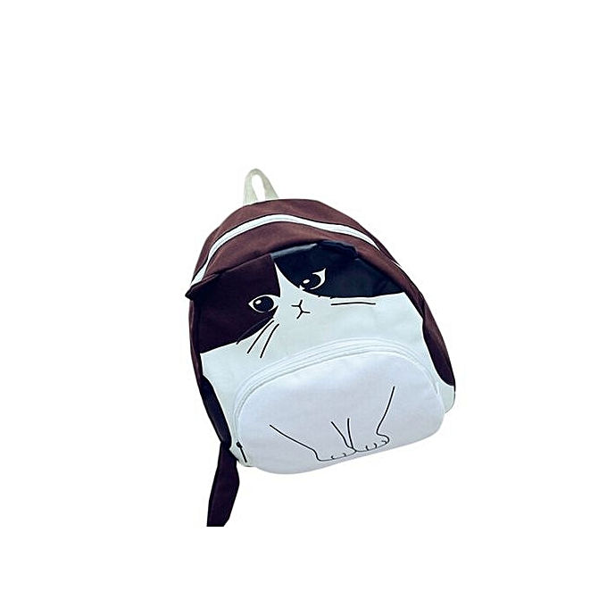 cf24e5bc4241 bluerdream-Lovely Cat Printing Women Canvas Backpack School Bags Ladies  Casual Bookbags CO-Coffee