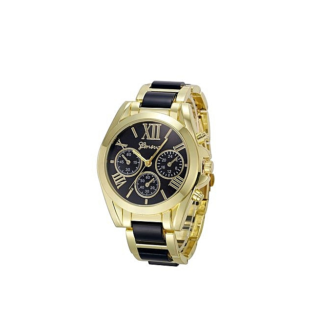 Fohting Women Geneva Roman Numeral Gold Plated Metal/Nylon Link Watch BK  -Black