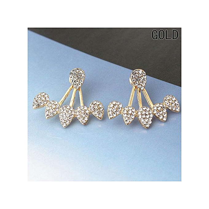 c865502160129 New Hot Drop Crystals Stud Earring For Women Gold Color Double Sided  Fashion Jewelry Earrings Female Ear