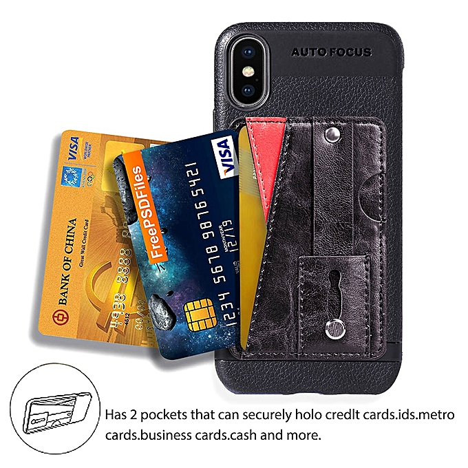 half off 6d3ef 6aa5f iPhone XS Max Case,Slim Durable Sleek Leather Wallet Back Cover with Credit  Card Slots Kickstand and Wrist Strap Shockproof Stand Phone Case for Apple  ...