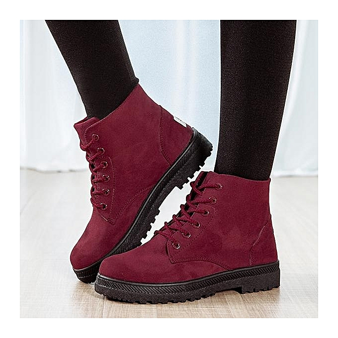 73d17300eaf1 Fashion Women Big Size Pure Color Suede Lace Up Ankle Casual Winter Warm  Boots