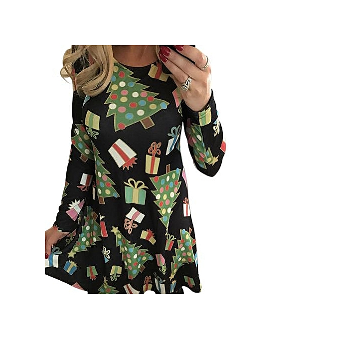 Buy Generic Women\'s Christmas Gift Sundress Printed O-Neck Long ...