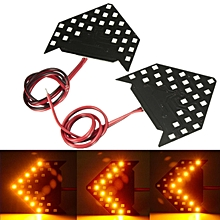 1 pair Amber 27 SMD LED Arrow Panel Rear View Sequential Side Mirror Turn Signal Light (Amber)