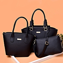 3 in 1 Fashionable PU Leather Women's Handbag Sing-shoulder Bag (Black)
