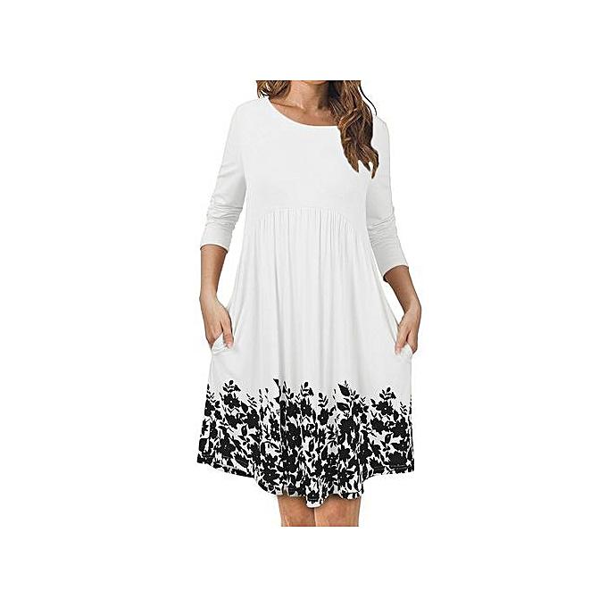463fe52b2f54 Ranicken Shop Women s T Shirt Dress With Pockets Long Sleeve Floral Pleated Swing  Dress