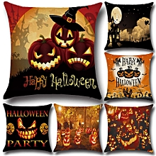 Halloween Pumpkin Bat Owl Pattern Cotton Linen Throw Pillow Cushion Cover Seat Home Decoration Sofa