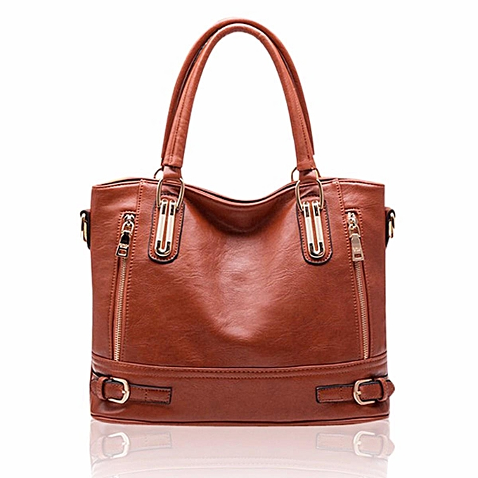 64e8170a0d1 ... Buy Generic Women Vintage Side Zipper Buckle PU Leather Tote