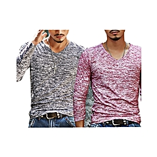 Pack of  2  Men's Cotton Casual Long Sleeve T-shirt  Pink&Black