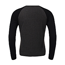 INCERUN Stylish Mens Casual Simple Crew Neck Long-sleeved T-shirt Tee Tops D Grey&Black