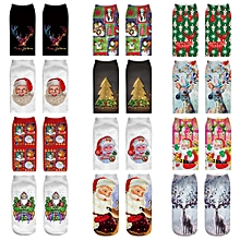 Fohting  Comfortable Christmas Cotton Sock Slippers Short  Print Ankle Socks  -As show