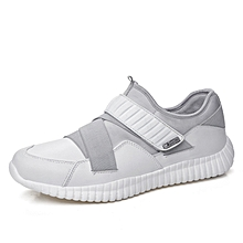 Spring Autumn Men Casual Fashion Shoes Leather Men Sneakers Breathable Men Outdoor Sports Shoes Breathable - White