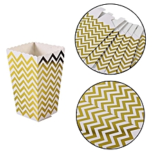12pcs/lot Wedding Parties Chicken Popcorn Paper Box Golden stripes Pattern