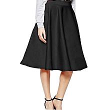 Women High Waist Solid Color Skirt - Black