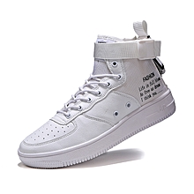 944c9c4e0c65db Men Shoes Fashion Leather Sneakers For Man New High Top Canvas Casual Shoes  - White -