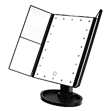 LED Lighted Touch Screen Trifold Makeup Mirror Tabletop Cosmetic Vanity Tri-Fold Black