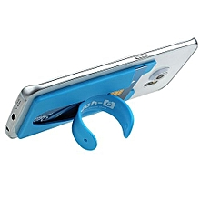 Holder Silicone Stick Credit Card Holder Slot Stand Shell Case For Smart Phone BU-Blue